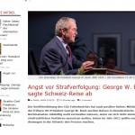 George Bush Angst vor Strafvervolgung in der Schweiz