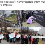 Kiev protestors throw manure at USA embassy