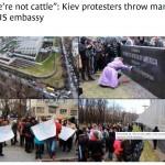 Kiev protestors throw manure at USA embassy